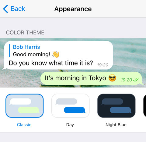 New theme picker on iOS